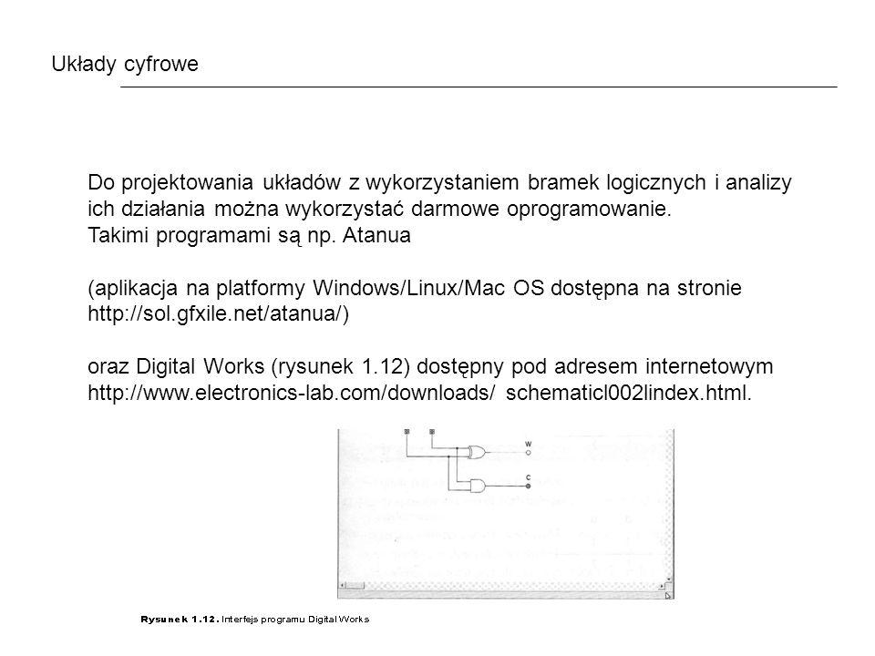 Układy cyfrowe Do projektowania układów z wykorzystaniem bramek logicznych i analizy ich działania można wykorzystać darmowe oprogramowanie.