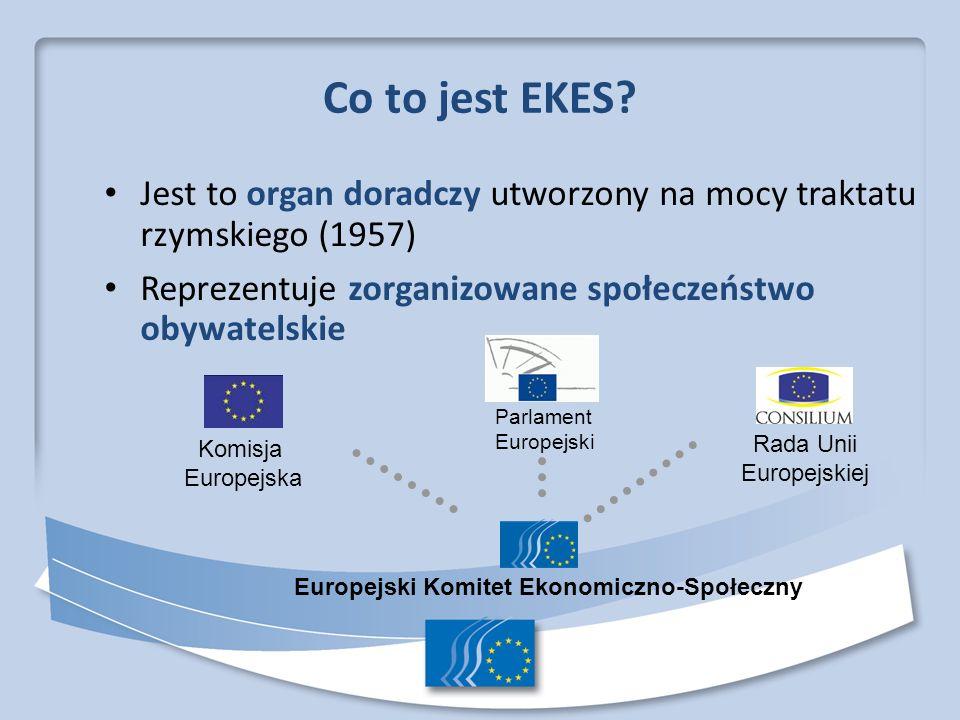 Co to jest EKES Jest to organ doradczy utworzony na mocy traktatu rzymskiego (1957) Reprezentuje zorganizowane społeczeństwo obywatelskie.