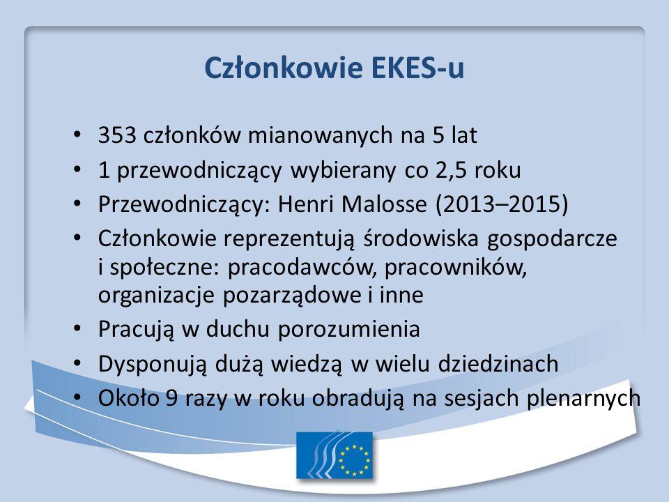 Członkowie EKES-u 353 członków mianowanych na 5 lat