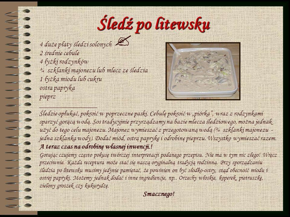 Śledź po litewsku 4 duże płaty śledzi solonych 2 średnie cebule