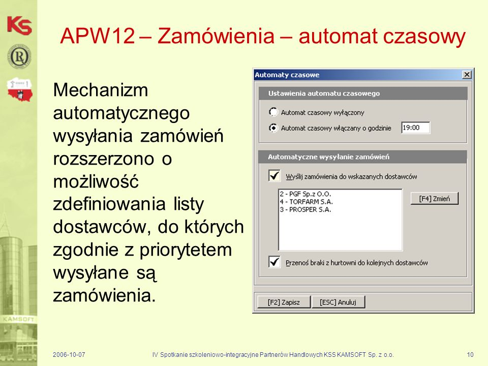 APW12 – Zamówienia – automat czasowy