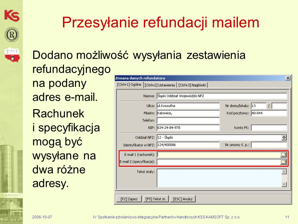 Przesyłanie refundacji mailem