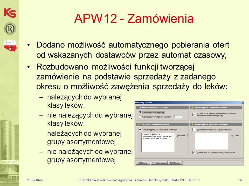 APW12 - Zamówienia Dodano możliwość automatycznego pobierania ofert od wskazanych dostawców przez automat czasowy,
