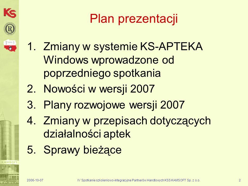 Plan prezentacji Zmiany w systemie KS-APTEKA Windows wprowadzone od poprzedniego spotkania. Nowości w wersji 2007.
