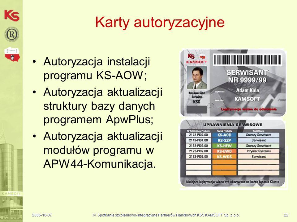 Karty autoryzacyjne Autoryzacja instalacji programu KS-AOW;