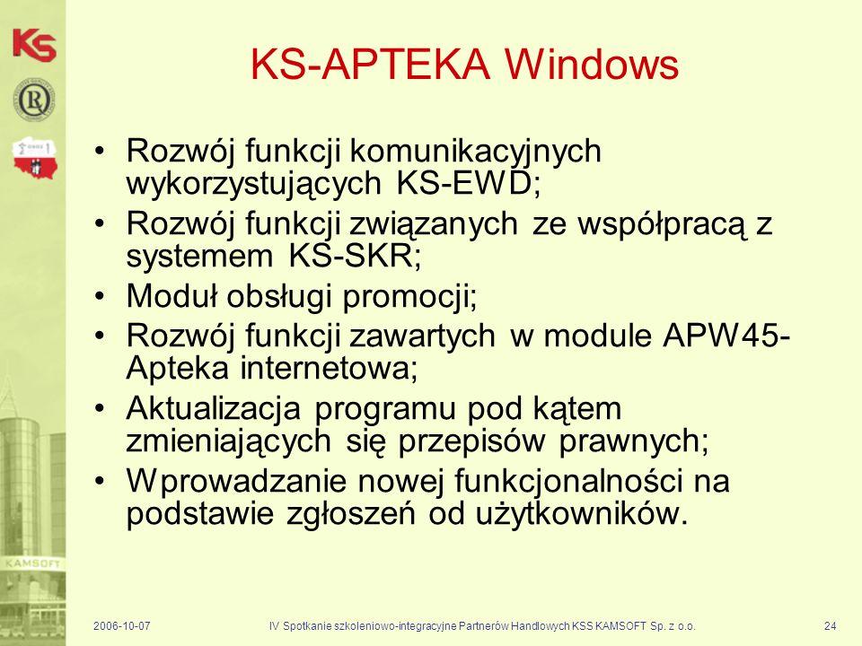 KS-APTEKA Windows Rozwój funkcji komunikacyjnych wykorzystujących KS-EWD; Rozwój funkcji związanych ze współpracą z systemem KS-SKR;