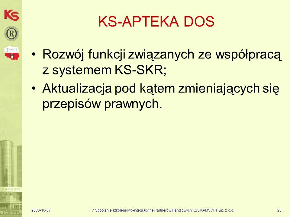 KS-APTEKA DOS Rozwój funkcji związanych ze współpracą z systemem KS-SKR; Aktualizacja pod kątem zmieniających się przepisów prawnych.