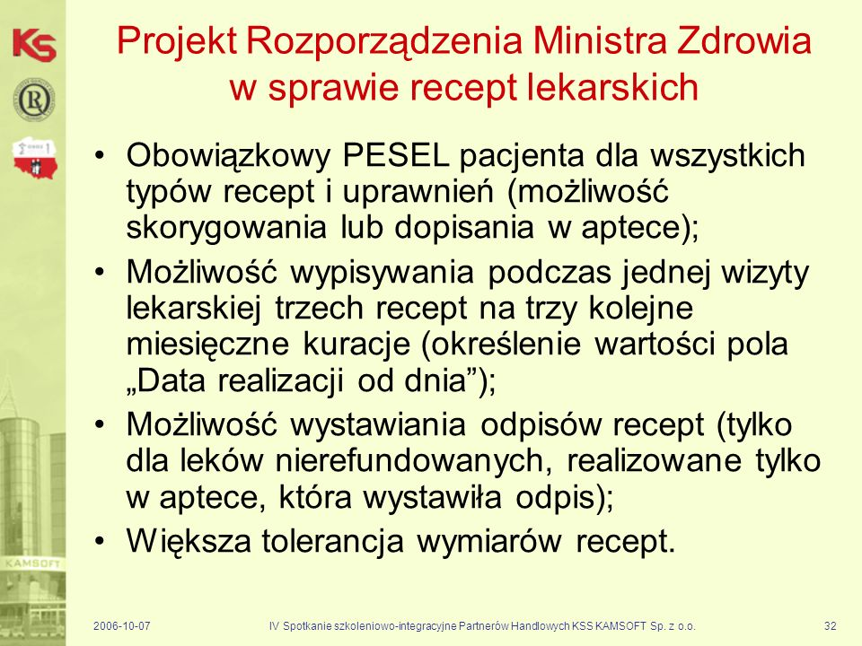 Projekt Rozporządzenia Ministra Zdrowia w sprawie recept lekarskich
