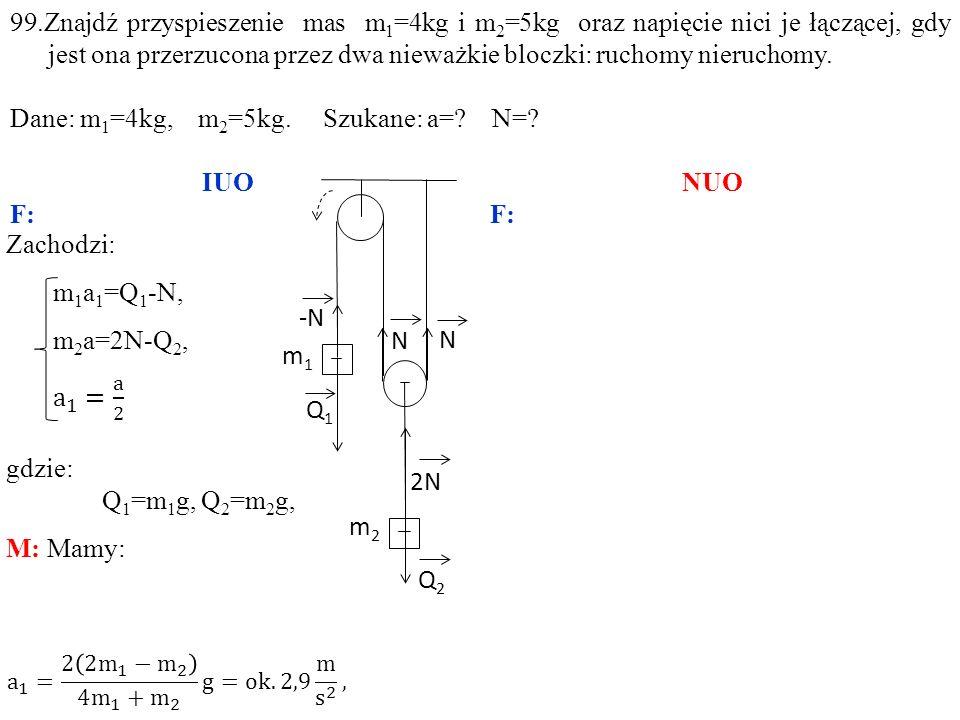 Dane: m1=4kg, m2=5kg. Szukane: a= N= IUO NUO F: F: