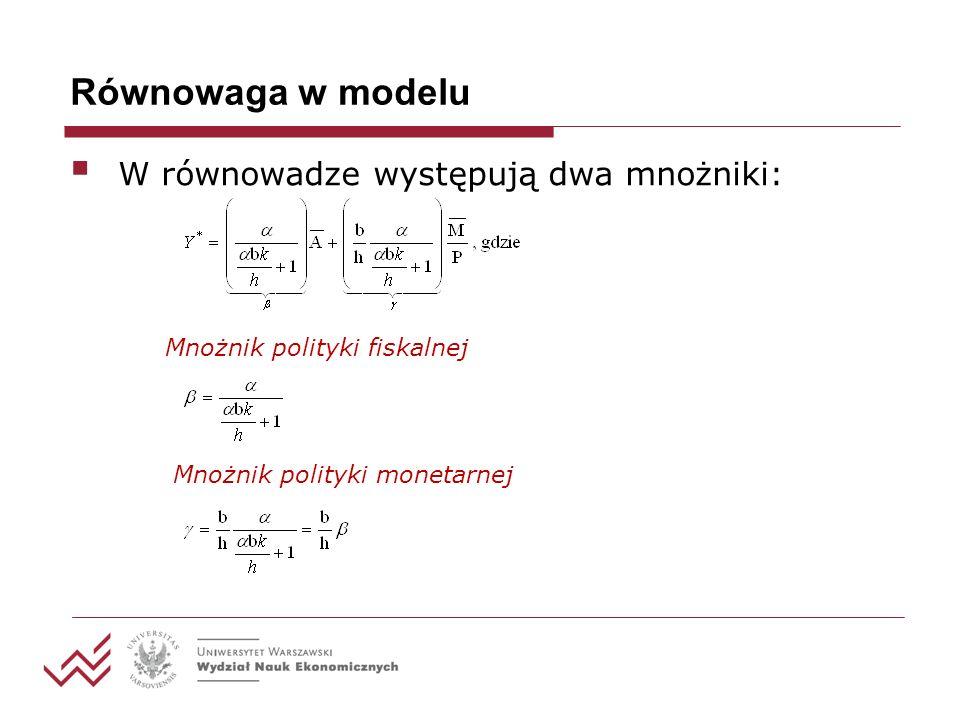 Równowaga w modelu W równowadze występują dwa mnożniki: