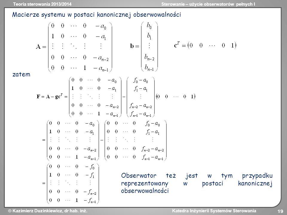 Macierze systemu w postaci kanonicznej obserwowalności