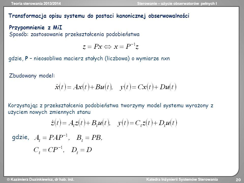 Transformacja opisu systemu do postaci kanonicznej obserwowalności