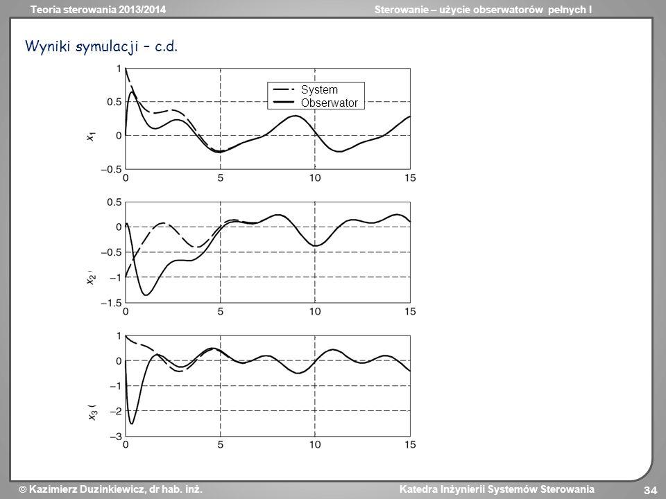 Wyniki symulacji – c.d. System Obserwator