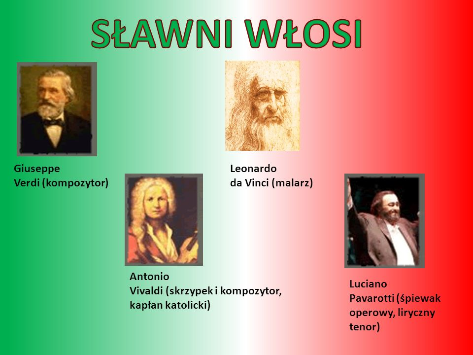 SŁAWNI WŁOSI Giuseppe Verdi (kompozytor) Leonardo da Vinci (malarz)