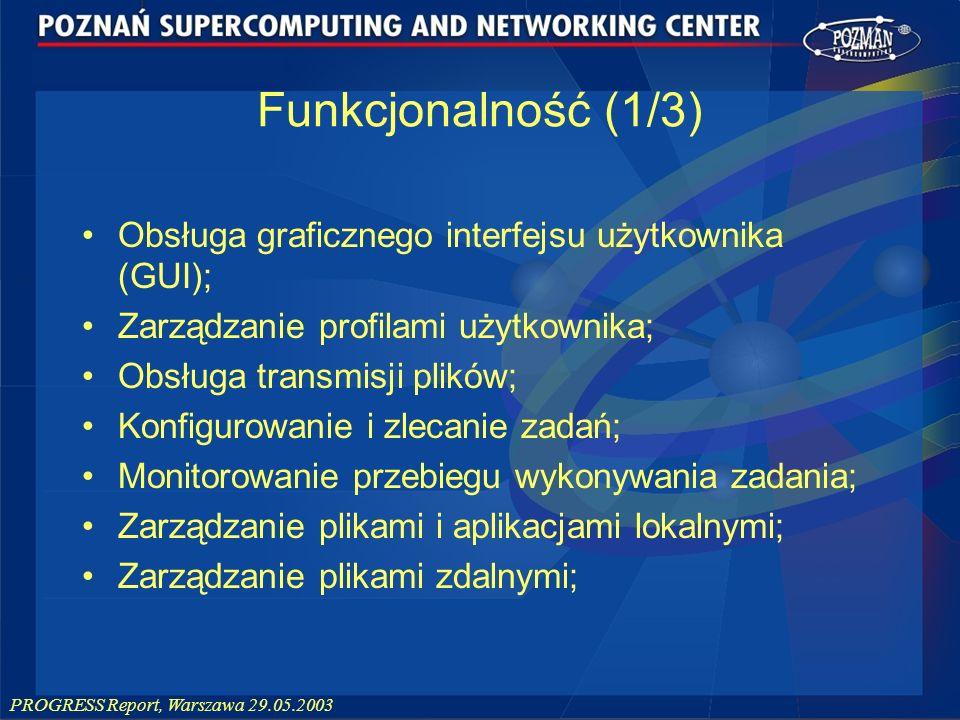 Funkcjonalność (1/3) Obsługa graficznego interfejsu użytkownika (GUI);