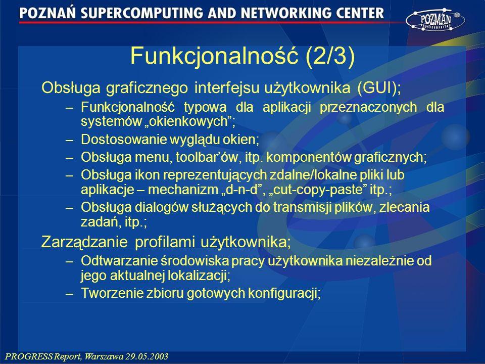 Funkcjonalność (2/3) Obsługa graficznego interfejsu użytkownika (GUI);
