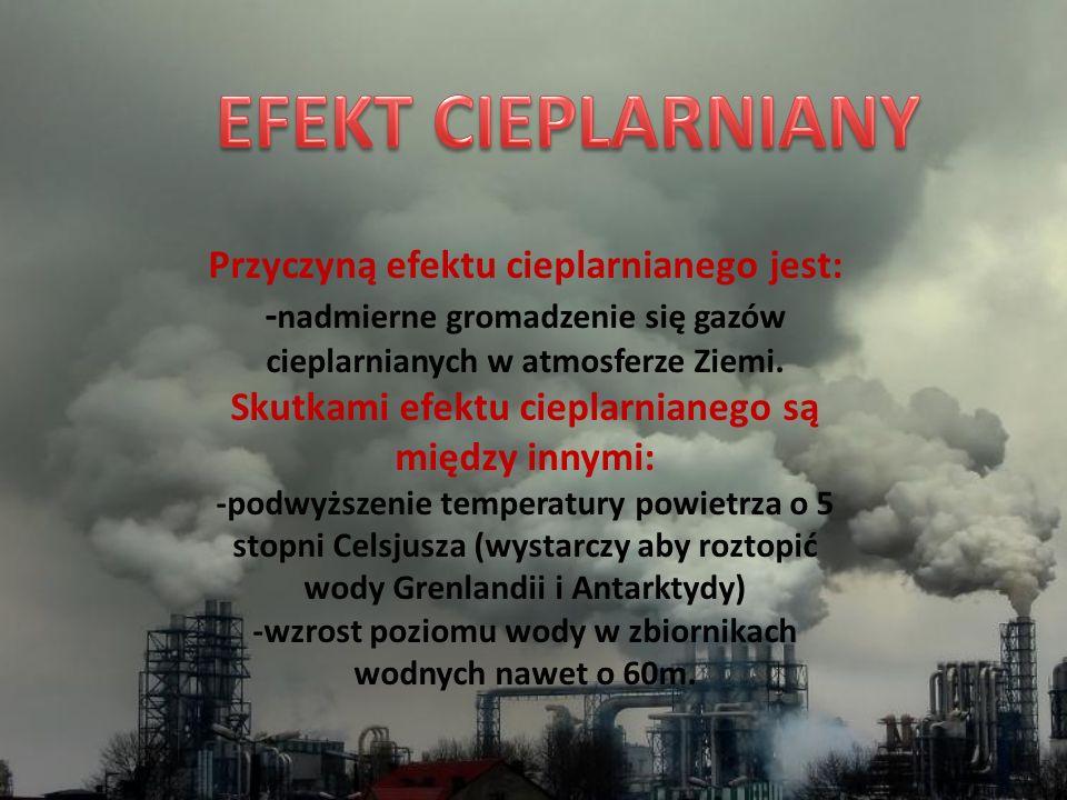 EFEKT CIEPLARNIANY Przyczyną efektu cieplarnianego jest: -nadmierne gromadzenie się gazów cieplarnianych w atmosferze Ziemi.
