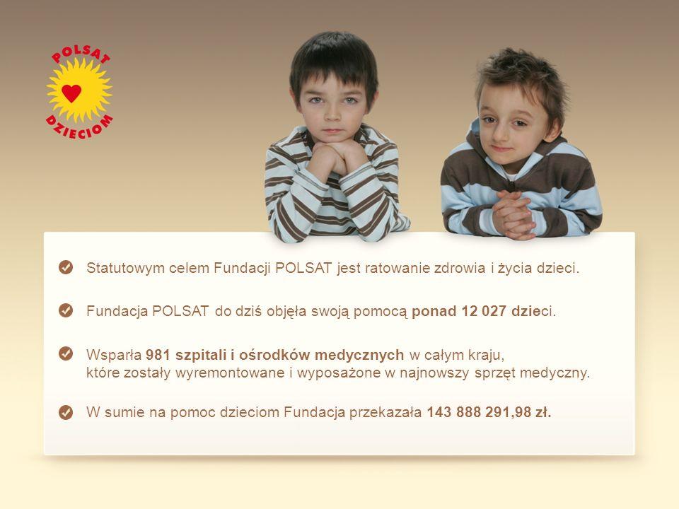 Statutowym celem Fundacji POLSAT jest ratowanie zdrowia i życia dzieci.