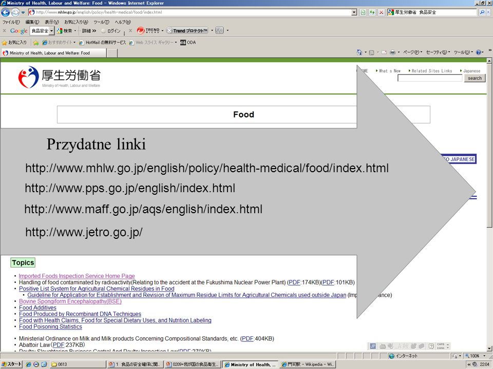 Przydatne linki http://www.mhlw.go.jp/english/policy/health-medical/food/index.html. http://www.pps.go.jp/english/index.html.