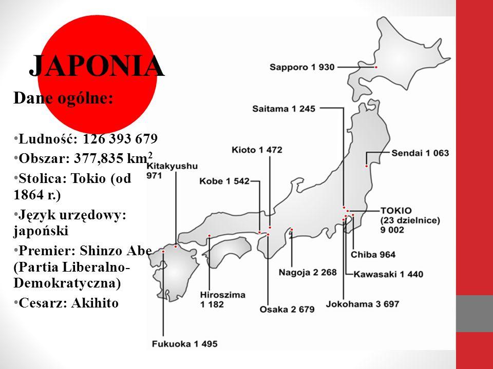 JAPONIA Dane ogólne: Ludność: 126 393 679 Obszar: 377,835 km2