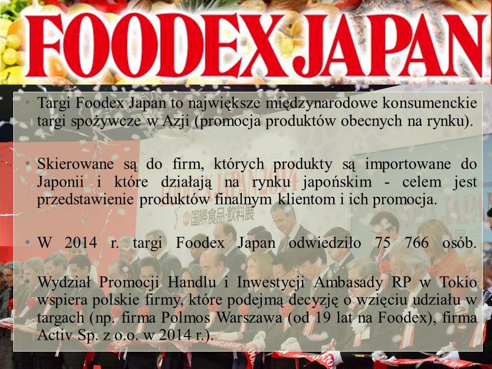 Targi Foodex Japan to największe międzynarodowe konsumenckie targi spożywcze w Azji (promocja produktów obecnych na rynku).