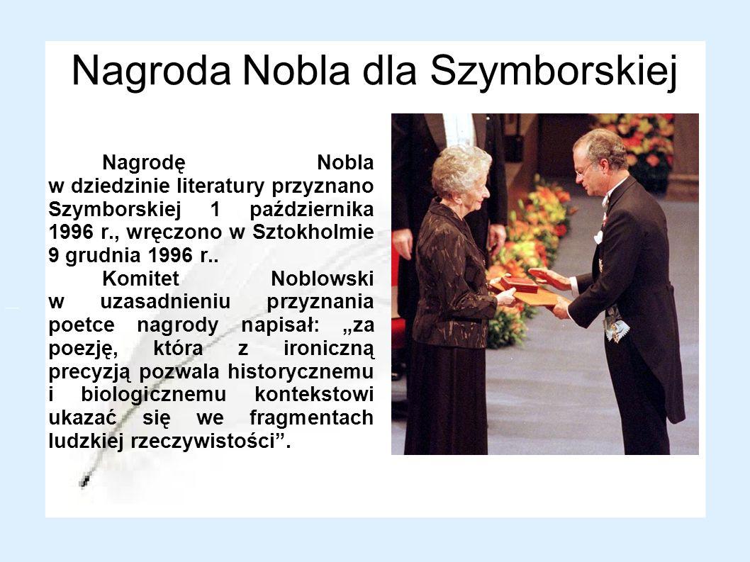 Nagroda Nobla dla Szymborskiej
