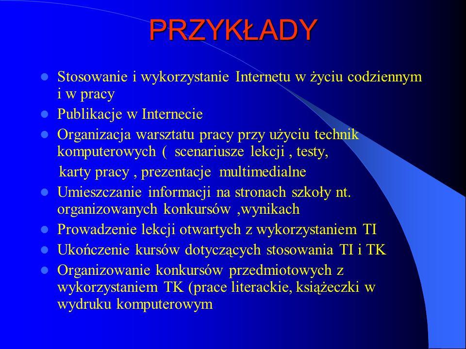 PRZYKŁADY Stosowanie i wykorzystanie Internetu w życiu codziennym i w pracy. Publikacje w Internecie.