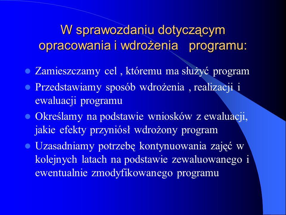 W sprawozdaniu dotyczącym opracowania i wdrożenia programu:
