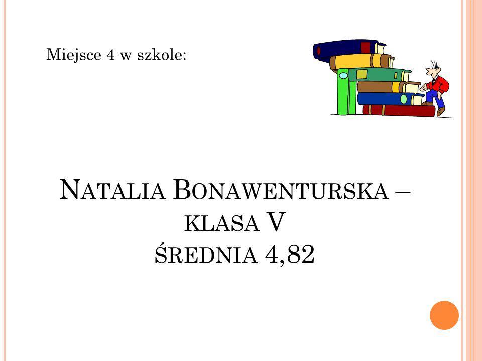 Natalia Bonawenturska – klasa V średnia 4,82