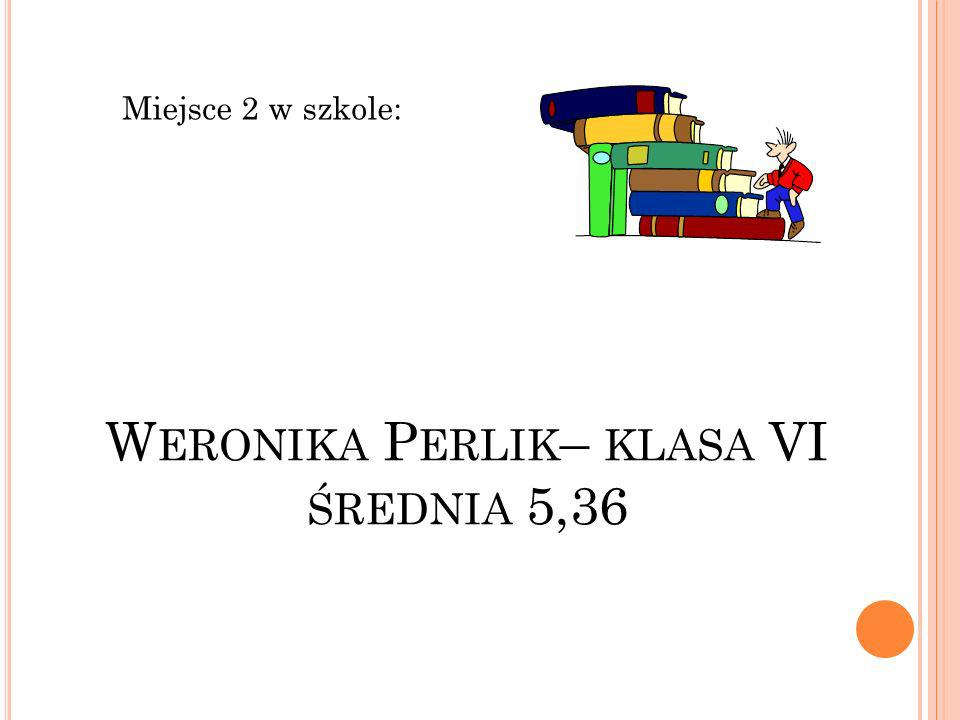 Weronika Perlik– klasa VI średnia 5,36