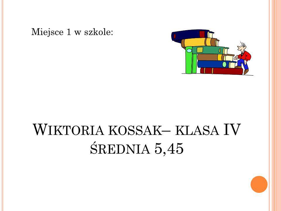 Wiktoria kossak– klasa IV średnia 5,45