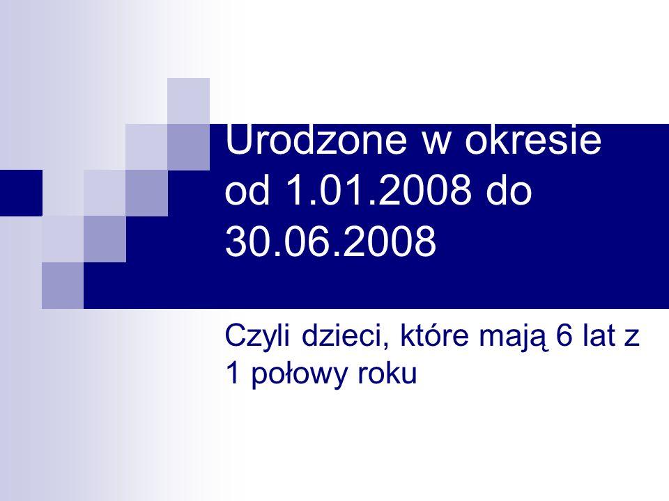 Urodzone w okresie od 1.01.2008 do 30.06.2008