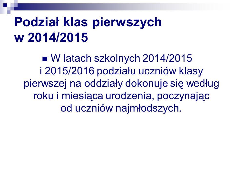 Podział klas pierwszych w 2014/2015