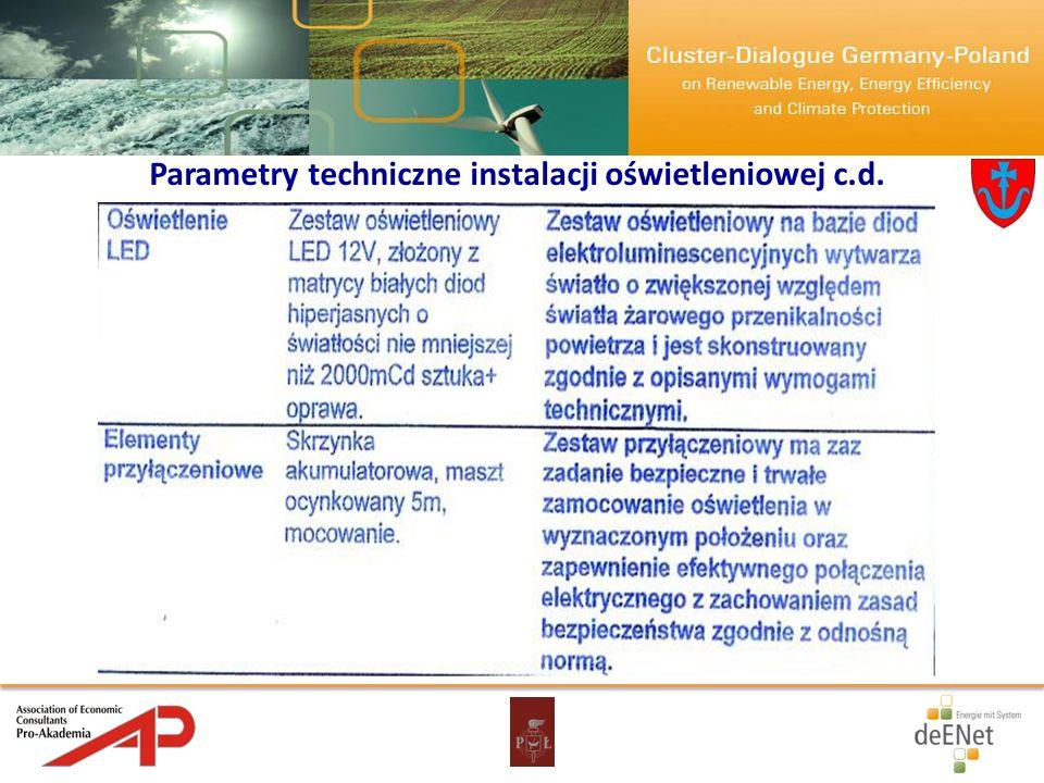 Parametry techniczne instalacji oświetleniowej c.d.
