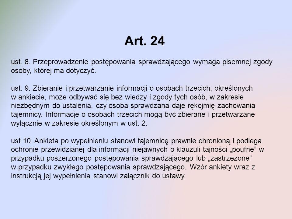 Art. 24 ust. 8. Przeprowadzenie postępowania sprawdzającego wymaga pisemnej zgody osoby, której ma dotyczyć.