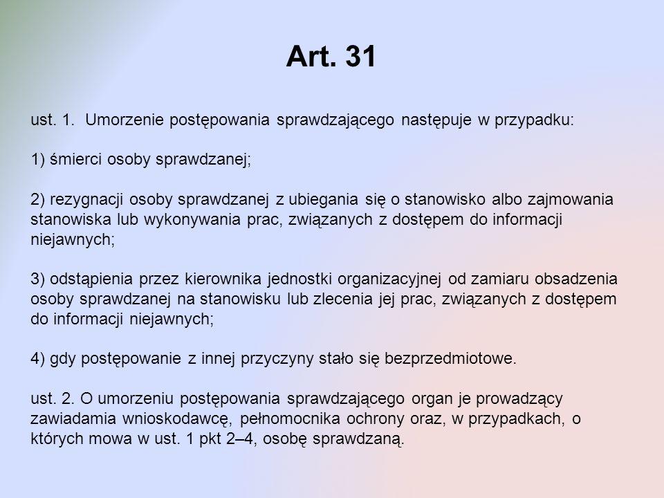 Art. 31 ust. 1. Umorzenie postępowania sprawdzającego następuje w przypadku: 1) śmierci osoby sprawdzanej;