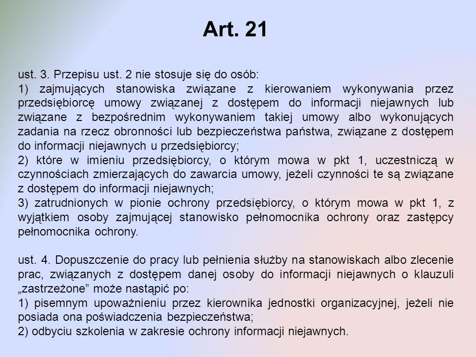 Art. 21 ust. 3. Przepisu ust. 2 nie stosuje się do osób: