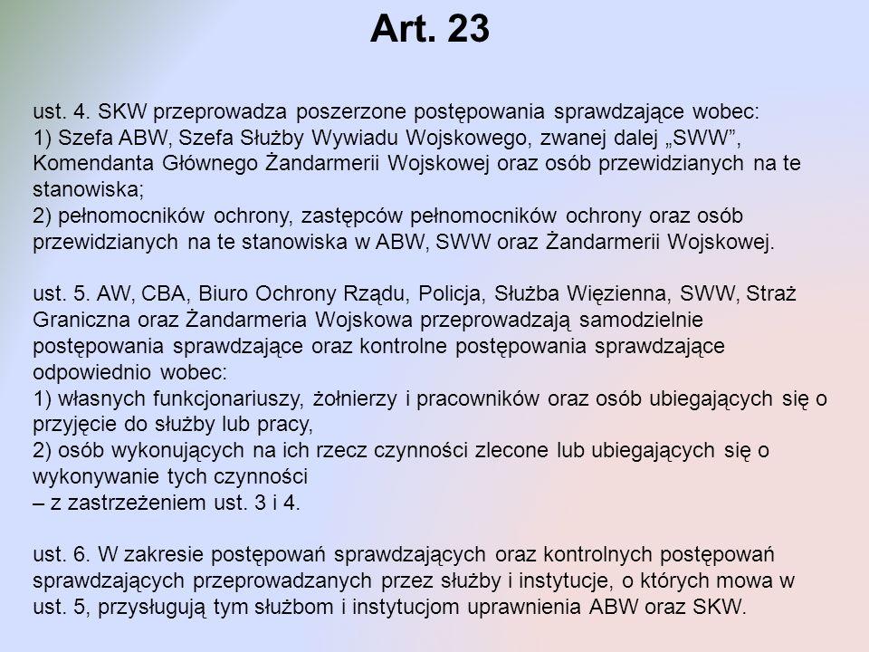 Art. 23 ust. 4. SKW przeprowadza poszerzone postępowania sprawdzające wobec:
