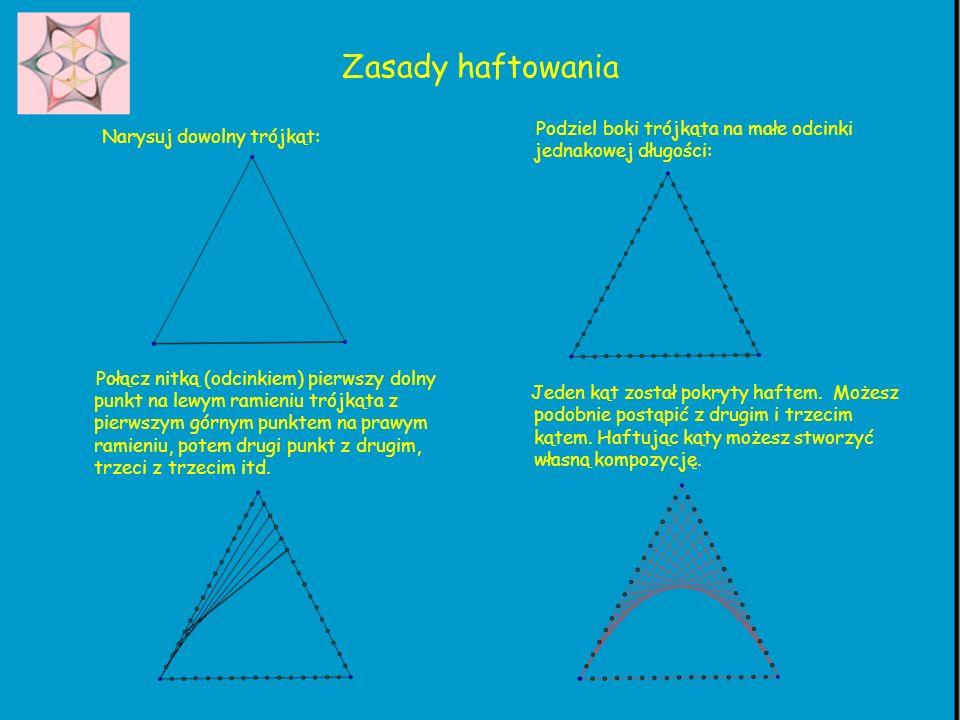 Zasady haftowania Podziel boki trójkąta na małe odcinki jednakowej długości: