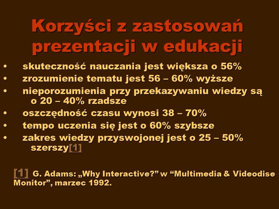 Korzyści z zastosowań prezentacji w edukacji