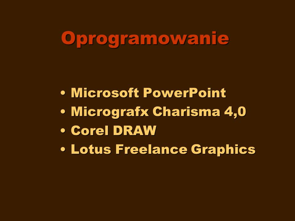 Oprogramowanie Microsoft PowerPoint Micrografx Charisma 4,0 Corel DRAW