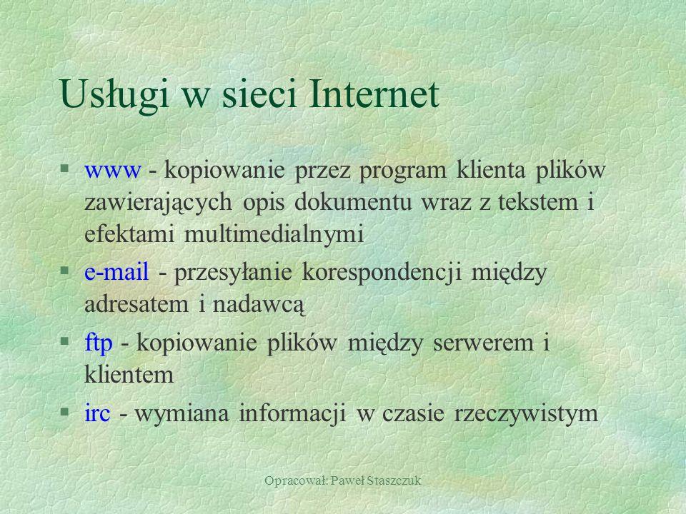 Usługi w sieci Internet