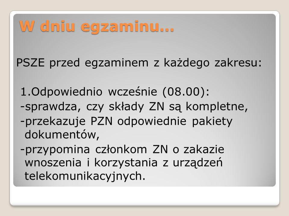 W dniu egzaminu… PSZE przed egzaminem z każdego zakresu: