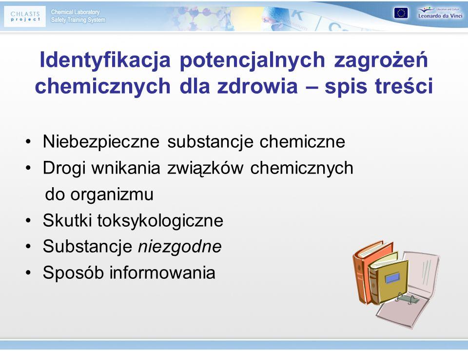 Identyfikacja potencjalnych zagrożeń chemicznych dla zdrowia – spis treści