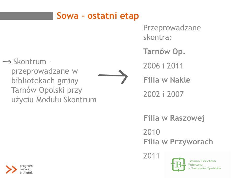 Sowa – ostatni etap Przeprowadzane skontra: Tarnów Op. 2006 i 2011