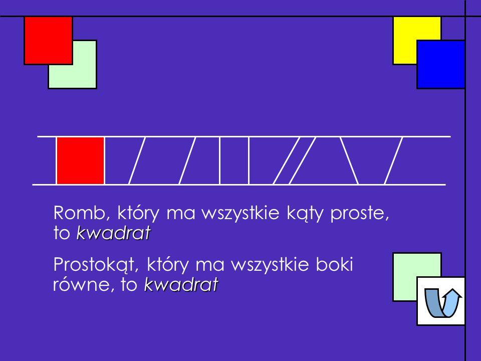 Romb, który ma wszystkie kąty proste, to kwadrat