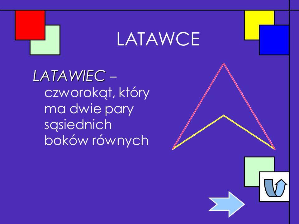 LATAWCE LATAWIEC – czworokąt, który ma dwie pary sąsiednich boków równych