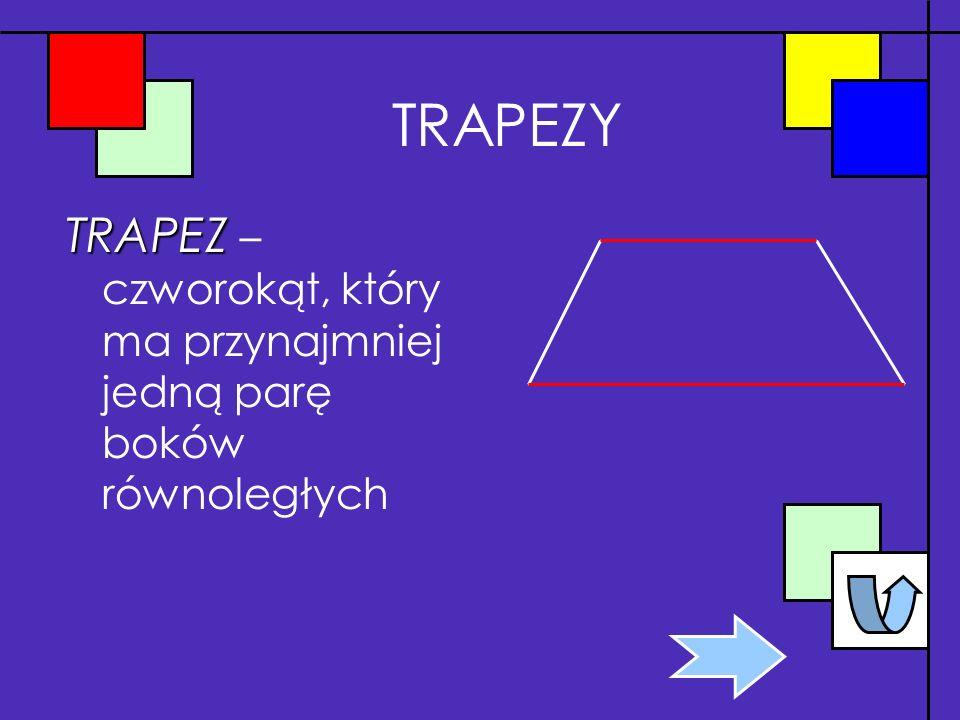 TRAPEZY TRAPEZ – czworokąt, który ma przynajmniej jedną parę boków równoległych