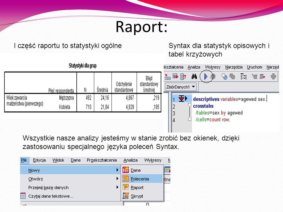 Raport: I część raportu to statystyki ogólne