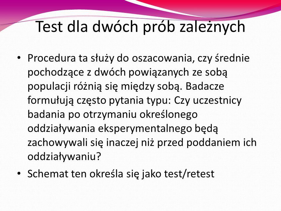 Test dla dwóch prób zależnych